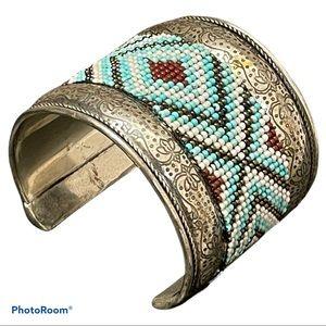 Western Filigree Beaded Silver Cuff Bracelet